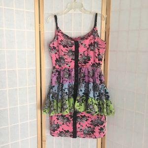 Cute multi colored peplum Betsey Johnson Dress!